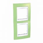 Двойна рамка за вертикален монтаж Unica Plus, Ябълково зелен/Бял