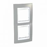 Двойна рамка за вертикален монтаж Unica Plus, Светло сив/Бял