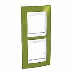 Двойна рамка за вертикален монтаж Unica Plus, Ярко зелен/Бял