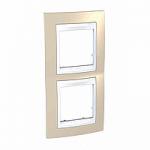 Двойна рамка за вертикален монтаж Unica Plus, Светло бежов/Бял
