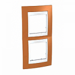 Двойна рамка за вертикален монтаж Unica Plus, Оранж/Бял
