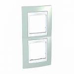 Двойна рамка за вертикален монтаж Unica Plus, Морско зелен/Бял