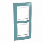 Двойна рамка за вертикален монтаж Unica Plus, Светло син/Бял