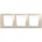 Тройна рамка Unica Plus, Светло бежов/Бял