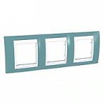 Тройна рамка Unica Plus, Светло син/Бял