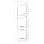 Тройна рамка за вертикален монтаж  Unica Plus, Бял/Бял