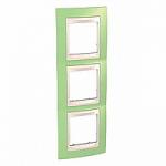 Тройна рамка за вертикален монтаж  Unica Plus, Ябълково зелен/Слонова кост