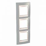 Тройна рамка за вертикален монтаж  Unica Plus, Светло сив/Слонова кост