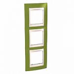 Тройна рамка за вертикален монтаж  Unica Plus, Ярко зелен/Слонова кост