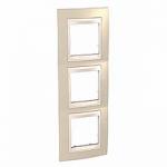 Тройна рамка за вертикален монтаж  Unica Plus, Светло бежов/Слонова кост
