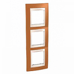 Тройна рамка за вертикален монтаж  Unica Plus, Оранж/Слонова кост