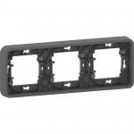 Mureva Styl - cover frame for socket outlet - 3 gangs - horizontal - grey