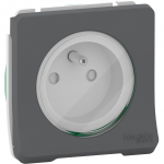 Mureva Styl - power socket-outlet with pinE - 16A 250V - 2P + E with shutters - grey