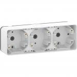 Mureva Styl - surface mounted box - 3 gangs horizontal- white