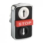 """Черен бутон с три глави 2 пускови/1 изпъкнала, маркирано с черен знак """"↑"""", бяла """"↓"""", червен знак """"STOP"""""""