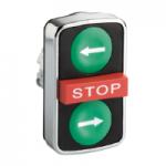 """Черен бутон с три глави 2 пускови/1 изпъкнала, маркирано с бяла """"←"""", бяла """"→"""", червен знак """"Stop"""""""