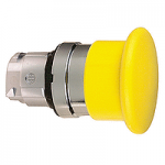 """Жълт бутон тип """"гъба""""с възвръщаема пружина, без маркировка"""