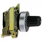 Бяла назъбена глава, за използване с вал Ø 6 mm + монтажна основа за потенциометър