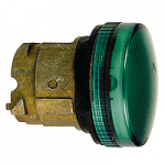 Зелена контролна лампа с оребрени обективи, вграден LED