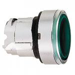 Зелена глава за бутон наравно с повърхността, вграден LED с обикновенна леща, без маркировка