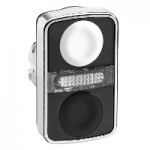 Бутон с две глави  2 пускови/1 централна светлинна лампа, маркирано с бяла/черна