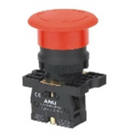 Avar. stop button, by turning, red