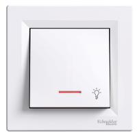 """Бутон със символ """"осветление"""" и глим-лампа 10 А, Бял"""