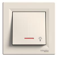 """Бутон със символ """"осветление"""" и глим-лампа 10 А, Крема"""