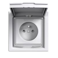 Единичен контактен излаз с детска защита и капаче, френски стандарт, IP44, Бял