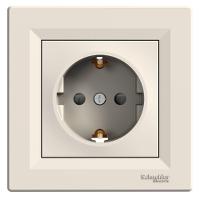 Единичен контактен излаз с детска защита и капаче, Шуко, IP44, Бял