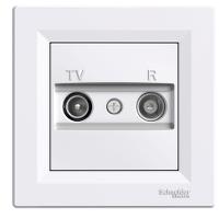 TV-R розеткa IEC мъжки + женски, междинна 8 dB, Бял