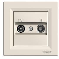 TV-R розеткa IEC мъжки + женски, крайна 1 dB, Крема