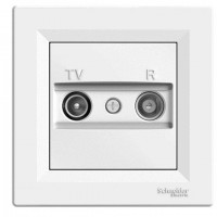 TV-R розеткa IEC мъжки + женски, междинна 4 dB, Бял