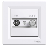 TV-SAT розеткa IEC мъжки + F, крайна 1 dB, Бял