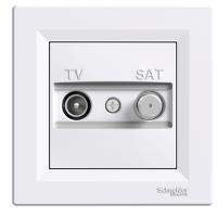 TV-SAT розеткa IEC мъжки + F, междинна 4 dB, Бял