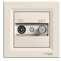 TV-SAT розеткa IEC мъжки + F, междинна 8 dB, Крема