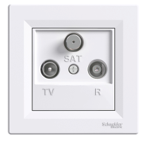 TV-R-SAT розеткa IEC мъжки + женски + F, крайна 1 dB, Бял