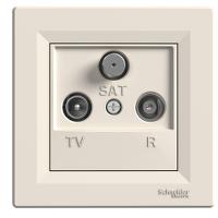 TV-R-SAT розеткa IEC мъжки + женски + F, междинна 8 dB, Крема