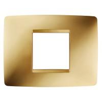 Cover Plate Chorus ONE IT, Metallised Technopolymer, Gold, 2 modules, Horizontal