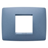 Cover Plate Chorus ONE IT, Painted Technopolymer Pastel Colours, Sea Blue, 2 modules, Horizontal