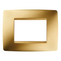 Cover Plate Chorus ONE IT, Metallised Technopolymer, Gold, 3 modules, Horizontal
