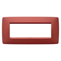 Cover Plate Chorus ONE IT, Painted Technopolymer Pastel Colours, Ruby, 6 modules, Horizontal