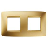 Cover Plate Chorus ONE INTERNATIONAL, Metallised Technopolymer, Gold, 2+2 modules, Horizontal