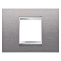 Cover Plate Chorus LUX IT, Stainless Steel, Brushed Stainless Steel, 2 modules, Horizontal