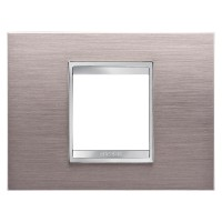Cover Plate Chorus LUX IT, Metal, Brushed Aluminium, 2 modules, Horizontal