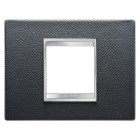 Cover Plate Chorus LUX IT, Leather, Black, 2 modules, Horizontal