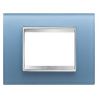 Cover Plate Chorus LUX IT, Glass, Aquamarine, 3 modules, Horizontal
