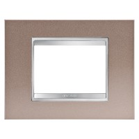 Cover Plate Chorus LUX IT, Metal, Pearly Bronze, 3 modules, Horizontal