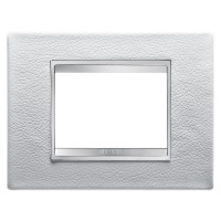 Cover Plate Chorus LUX IT, Leather, White, 3 modules, Horizontal