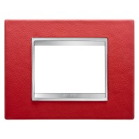 Cover Plate Chorus LUX IT, Leather, Ruby, 3 modules, Horizontal
